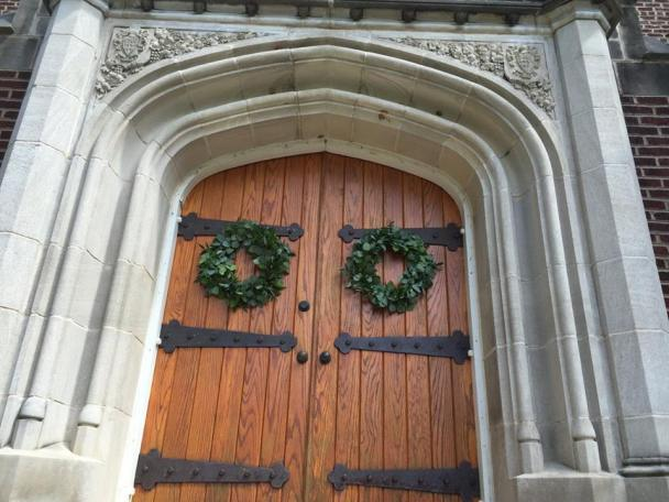 Greenery Wreathes, Patten Chapel, UTC