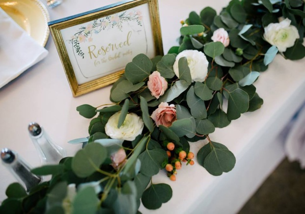 Eucalyptus Garland with blush and white blooms by Lang Floral Designs | Chattanooga Wedding Florist