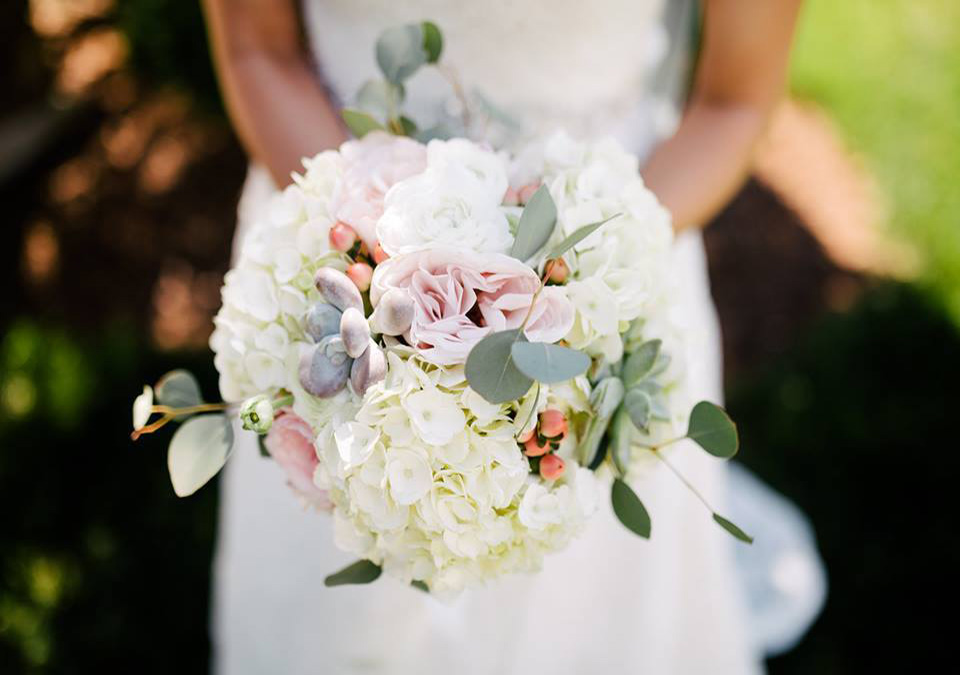 Blush and White Bouquet with Succulents and Eucalyptus by Lang Floral Designs, Chattanooga, Tennessee, Wedding Florist