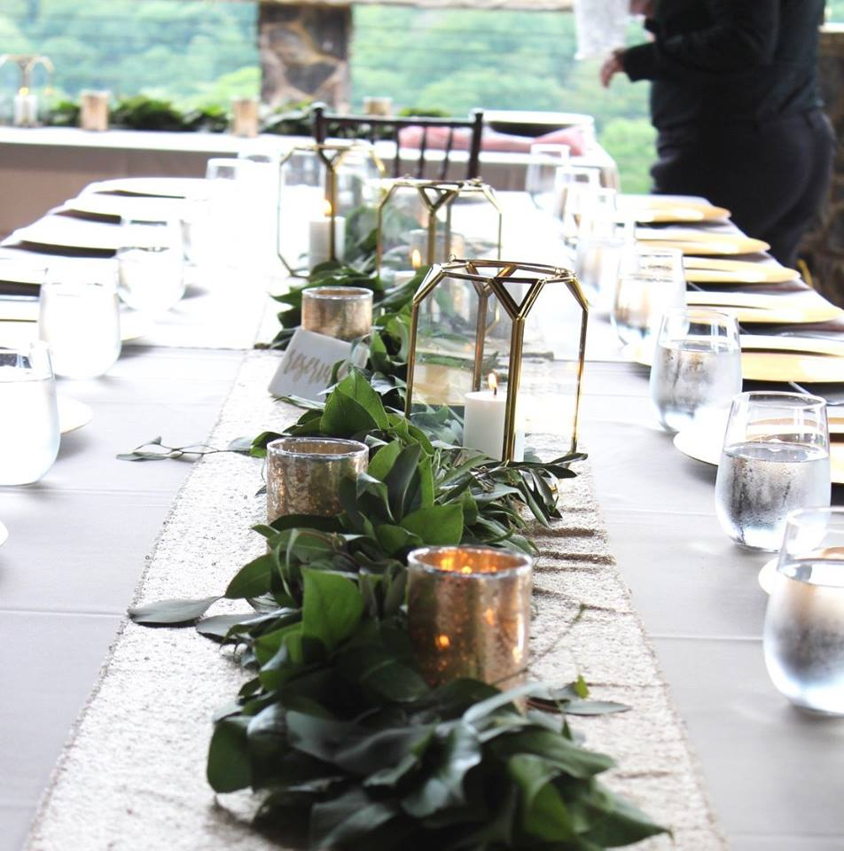 Garland centerpiece with gold by Lang Floral Designs, Chattanooga Tennessee Wedding Florist