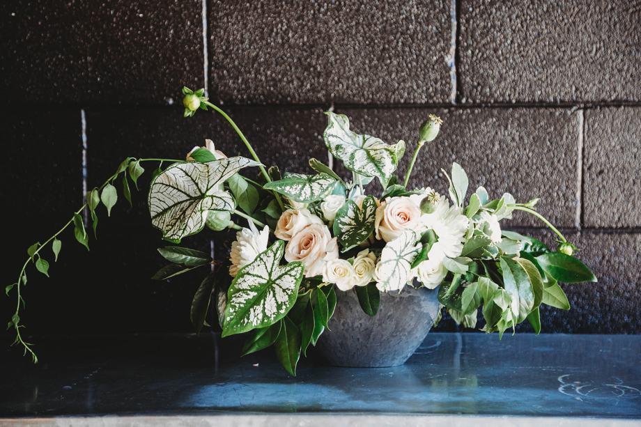 Rental Decor, Potted Arrangement, A-symmetrical, Lang Floral Designs, Chattanooga Wedding Florist and Coordinator. PHOTO CREDIT: Haylee Gaffin