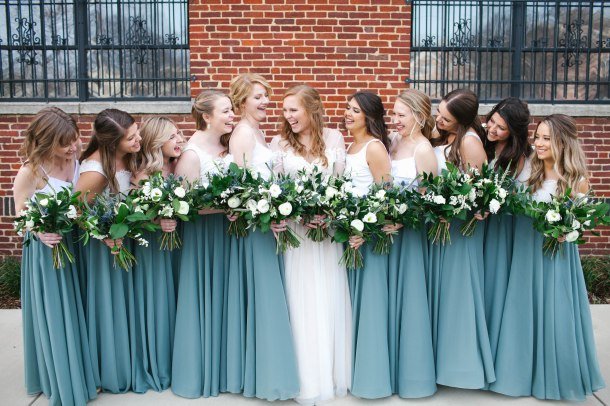 Classic Smoke Blue wedding with White Flowers and mixed greenery, Lang Floral Designs, Chattanooga Wedding Florist