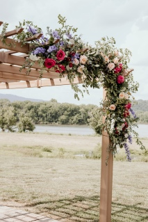 Wildflower Arbor Floral Installation, Ceremony, Tennessee RiverPlace, Chattanooga Wedding Florist, Lang Floral Designs, Lindsey Lowe Photography